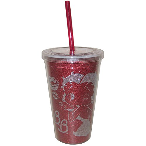 Westland Giftware Betty Boop Glitter Acrylic Tumbler with Lid and Straw, 16 oz, Multicolor