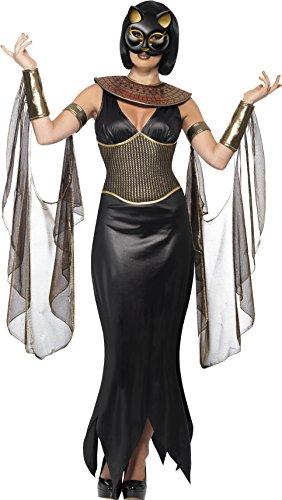 Smiffys, Damen Bastet die Katzengöttin Kostüm, Kleid mit Halskragen, Drapierte Ärmel und Maske, Größe: M, (Schakal Anubis Kostüm)