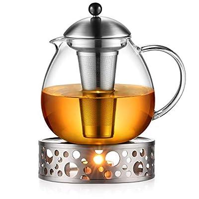 Glastal 1500mL Théière en verre avec le chauffage Théière, théière avec filtre en acier inoxydable, Acier inoxydable le chauffage Théière