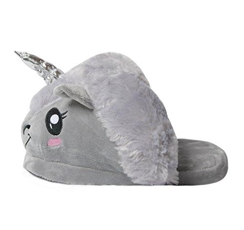 Damen Einhorn Plüsch Hausschuhe Winter Tier Pantoffeln Kostüm Cartoon Hause Schuhe Erwachsene Onesize Größe: 36-41 (Grau Einhorn Schuhe)