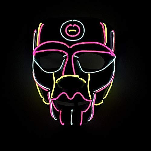 SAILORMJY Maske Halloween, Cosplay Maske Musiksteuerung LED Maske Purge DJ Mask mit 3 Blitzmodi für Party Halloween Fasching Karneval Kostüm Cosplay Dekoration (Drei Augen Alien Kostüm)