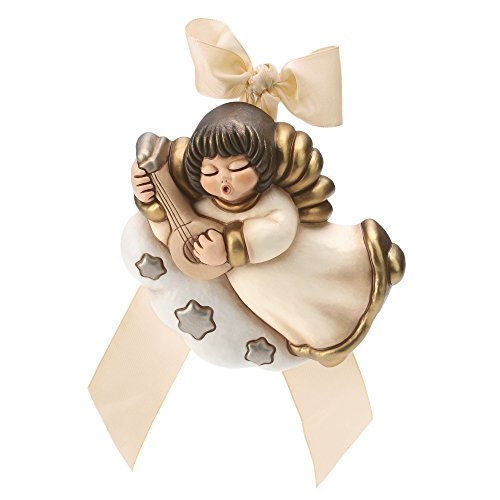 Thun angelo da parete con mandolino ceramica 16 cm h
