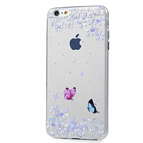 SMART LEGEND iPhone 6, iPhone 6S Weiche Silikon Hülle Bumper Schutzhülle Transparent Hülle mit Muster Handyhülle Crystal Schutzhülle Kirstall Clear Etui Ultra Slim Durchsichtig Weich TPU Handytasche S Schmetterling