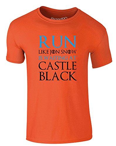 Brand88 - Run Like Jon Snow is Waiting at..., Erwachsene Gedrucktes T-Shirt Orange/Schwarz