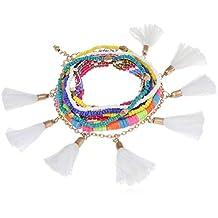 MiTy MaTy Set of 7 White Tassel Detailing Beaded Bracelets
