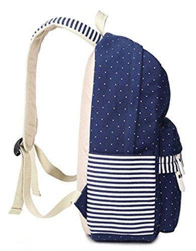 Longzibog Dual verstellbare Schultergurte und Hängeschlaufenband Mode Schulrucksäcke/Rucksack Damen/Mädchen Vintage Schule Rucksäcke mit Moderner Streifen für Teens Jungen Studenten Schwarz