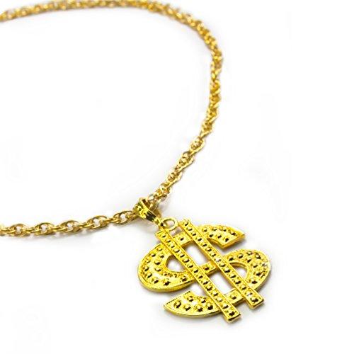 Oblique Unique® Kette Dollar Zeichen Rapper Goldene Millionär Gangster Kette - Satter Goldlook - Perfekt zum ()