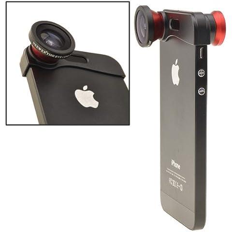 Neewer® 180° Lente ojo de pez + Lente amplio ángulo + Lente macro Kit 3 en 1 para el iPhone 5(Rojo)