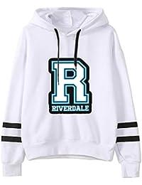 3bc73f306ee9b Gogofuture Riverdale Automne Hiver Plus Velours Casual Couleur Unie Manche  Longue pour Femmes ImprimÉEs Sweat-Shirt à Capuche…