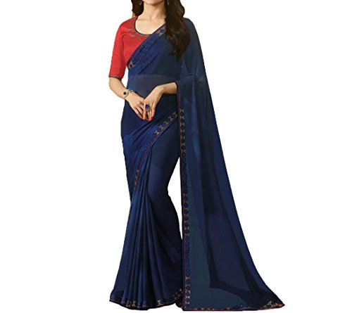 TAGLINE Georgette Saree With Blouse Piece (TAG51211_Blue_Free Size)