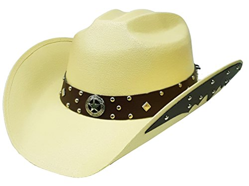 12f331bd782 Modestone Unisex Chapeaux Cowboy Side Brim Leather Look Appliques Light Tan