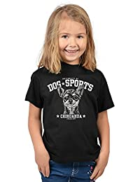 Mädchen Shirt Chihuahua Kinder Hunde T-Shirt - University of Dog Sports Chihuahua - bewährte Qualität - Teenager Girls Tier Print Top Gr. 5 - 14 Jahre in schwarz : )