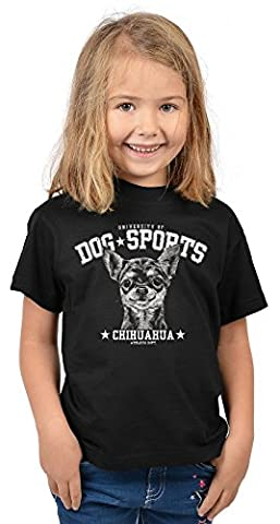 Mädchen Shirt Chihuahua Kinder Hunde T-Shirt - University of Dog Sports Chihuahua - bewährte Qualität - Teenager Girls Tier Print Top Gr. 5 - 14 Jahre in schwarz Gr: 146-152 / 11 -12 Jahre