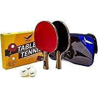 Ping Pong Paddle Set – 2 tenis de mesa, 3 bolas y funda de viaje – asequible Pro Performance – materiales de calidad profesional 6 estrellas – Mejor potencia, precisión y velocidad – para todas las edades