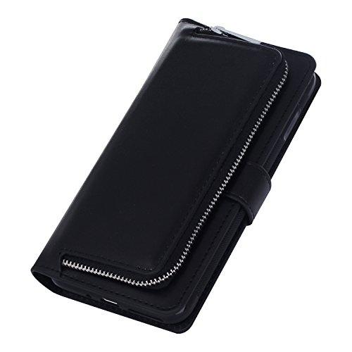 iPhone 7 Plus Case Cover,Vandot iPhone 7 Plus 5.5 Pouces Coque Portefeuille Amovible Magnétique à Fermeture à glissière [Grande capacité] Housse en Cuir PU Flip Housse Pochette à glissière Case Cover  Poche-Noir