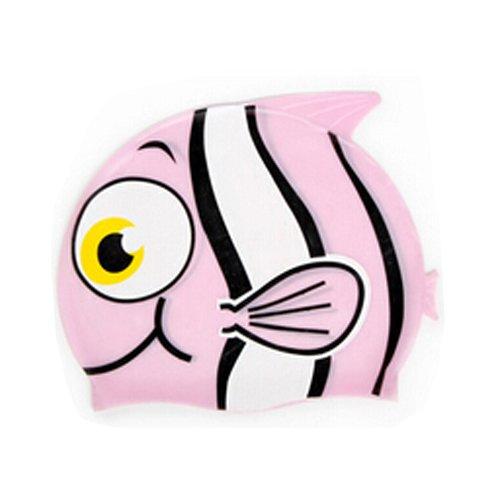 YOKIRIN Kinder Silikon Badekappe Bademütze Karikatur Badehaube Muster:Rosa Fisch