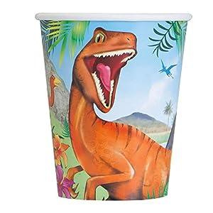 Unique Party- Vasos de Papel Fiesta de Dinosaurios, 8 Unidades (58316)