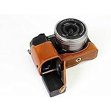 La mitad inferior de apertura Versión protección PU caja de la cámara bolso de la cubierta con el trípode de diseño para Sony ILCE6000 cámara A6000 con la mano la correa de cuero de Brown