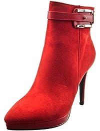 Sopily - Zapatillas de Moda Botines zapatillas de plataforma Tobillo mujer Hebilla joyas Talón Tacón ancho alto 10.5 CM - plantilla sintética - forradas en piel - Rojo