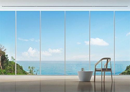 YongFoto 3x2m Sea View Hintergrund Seaside Wohnzimmer French Fenster innen Hintergründe die Fotografie Blue Sky White Cloud Insel Sommer vinyl Foto Hintergrund Jungen Lover Portraits Studio ()