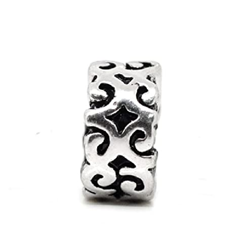 2x Antique Silver Plated Carved Ornate Spacer Charm Bead will fit on Pandora/Troll/Chamilia European Type Bracelets 10mm