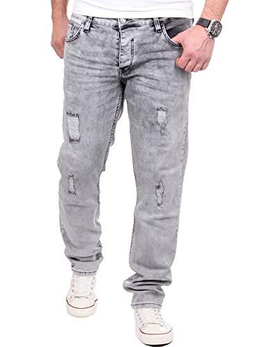 Reslad Jeans Herren Destroyed Look Slim Fit Denim Strech Jeans-Hose RS-2062 (W32 / L32, Grau) Slim Fit Denim-hose