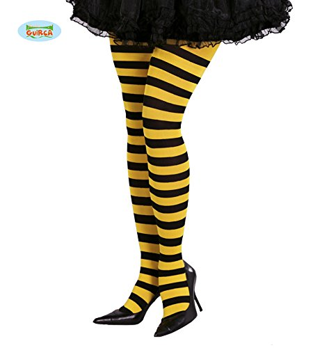 Guirca Fiestas GUI18276 - gelb-schwarz gestreifte Bienen-Strumpfhosen