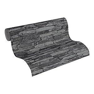 A.S. Création Vliestapete Best of Wood and Stone Tapete in Stein Optik fotorealistische Steintapete Naturstein 10,05 m x 0,53 m grau schwarz Made in Germany 914224 9142-24