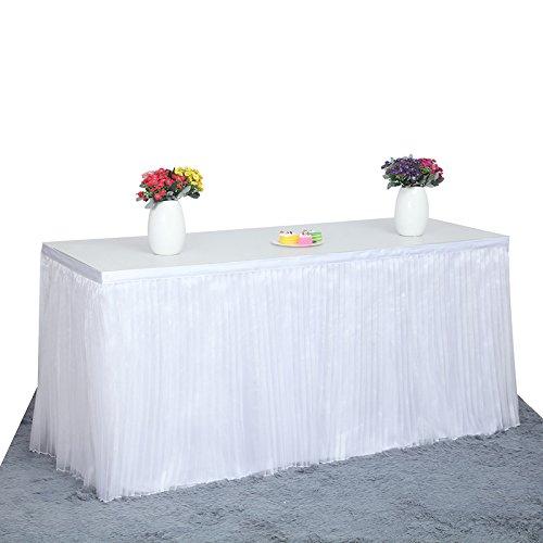 Lanlan Plissee Stil Tischdecke Polyester Hochzeit Hotel Tisch Dekoration Geburtstag Baby Party Tisch Rock, weiß (Trim Plissee-rock)