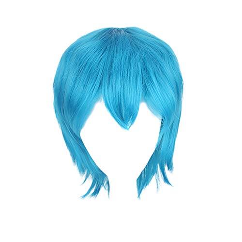 al Unisex Haar Wigs Anime Kurz Perücke/Herren Kurz Haarteile für Karneval Fasching Cosplay Party Kostüm für Verschiedene Hautfarben(Himmelblau) ()