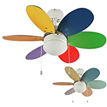 MiniSun U2013 Moderner Deckenventilator Mit 6 Mehrfarbigen Und Umkehrbaren  Flügeln (bunte/Pastellfarben) Und