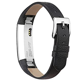 Goosehill Leather Replacement Straps for Fitbit Alta and Alta HR,Adjustable Fitness Sport Wristband Unisex Straps Bands with Stainless Steel Buckle-Black