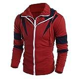 IMJONO Männer Retro Langarm-Kapuzenpullover mit Kapuze Sweatshirt Tops Jacke Mantel Outwear (EU-50/CN-2XL,Rot)