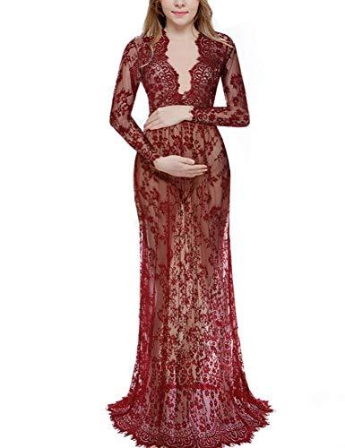 WFL Weiß sexy Tiefem V-Ausschnitt langärmelige Spitze Perspektive eng Anliegende Brautkleid mit...
