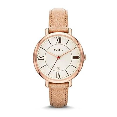 Fossil ES3487 - Reloj de cuarzo con correa de cuero para mujer, color blanco / marrón