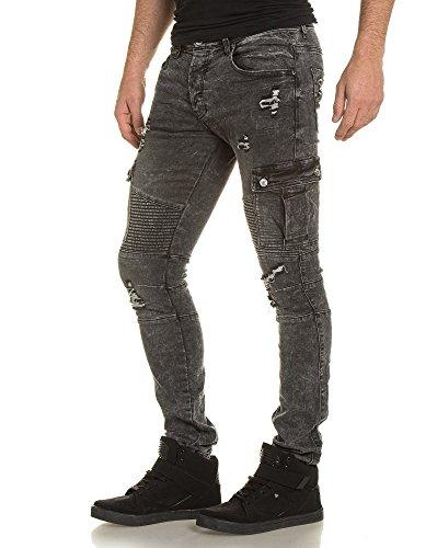Gov Denim - Pantalon noir délavé aspect arraché Gris