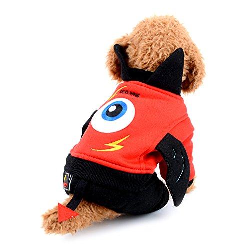 Boy Kostüm Devil - ranphy Kleiner Hund Katze Overall Fleece gefüttert Outfit Devil Pet Kostüm Halloween Weihnachten Yorkie Kleidung Hundemantel Apparel, für Winter warm