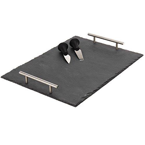Servierplatte aus Schiefer 30x40cm inkl. 2 Messer und Kreide, Servierteller Servierständer