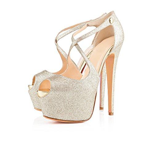 Damen Open Toe Plateau Stiletto High Heel Pumps Schluepfen Knoechel Cross Strap Buckle Party Schuhe (36, Silber glitter) - Glitter Patent Schuhe