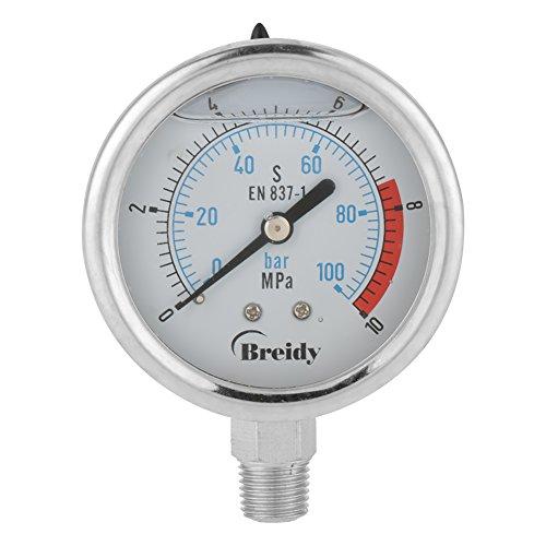 """60mm Analog Gasdruckanzeige 0-100Bar 0~10 Mpa für Wasser Luft Öl Dial Instrument Basis Eintrag NPT 1/4"""""""