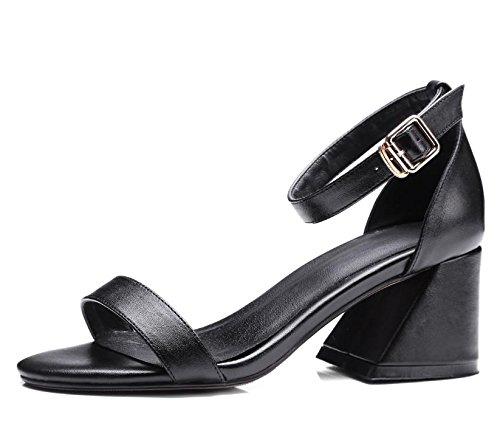 tacco-grosso-pompe-mule-sandali-per-le-donne-fibbia-tacco-medio-scarpe-quotidiani-donna-black-39