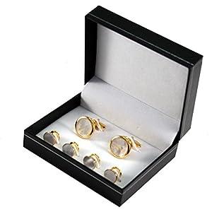 LINDENMANN Manschettenknöpfe und Frackknöpfe / Geschenkset, perlmutt, goldfarben, 990013