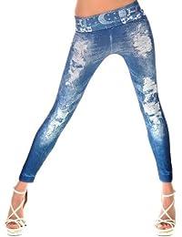 Balingi Damen Leggings mit Jeans Print BA10112