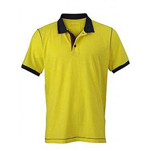 James & Nicholson - Men's Urban Poloshirt Yellow/Navy
