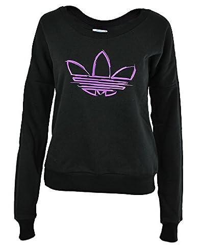 Adidas Crew Neck Femmes Originales Trefoil Sweatshirt Pull Noir, Dimension:S/M - 38