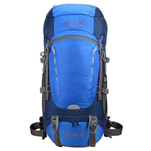 Eshow Unisex Trekkingrucksäcke Wanderrucksäcke Reisenrucksack Camping Outdoor Reisen Sport Wandern Trekking Rucksäcke 40L mit Regenhülle, Blau (Wander-rucksack, 50l)