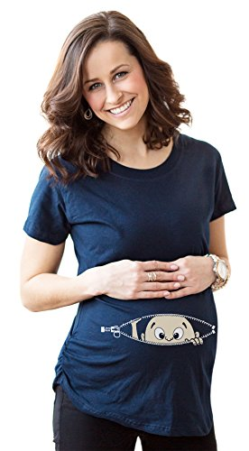 Crazy Dog Tshirts Maternity Baby Peeking T Shirt Funny Pregnancy Tee for Expecting Mothers (Navy) - XXL - Damen - XXL (Damen-baby-tee)