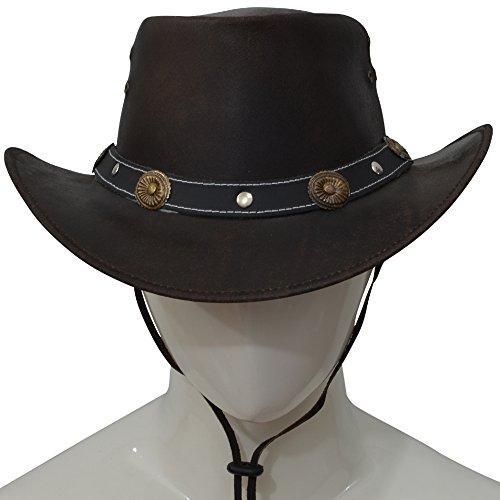 AQWA New Classic Bronze Conchos Western-Style Leder Cowboy Fancy Hat Kinnriemen, braun - Fancy Concho