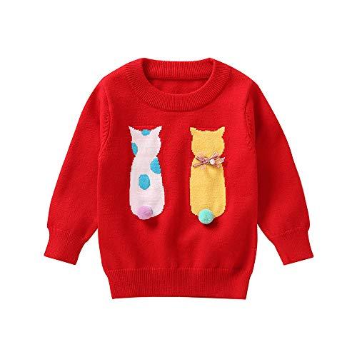 Babykleidung Shopaholic0709 (18M-4T) Mädchen-Katzen-Haar-Ball-Pullover-Strickjacke-Spitze Rosa, Gelb, Rot Baby mädchen Kleidung