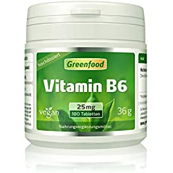Vitamin B6, 25 mg, extra hochdosiert, 180 Tabletten – OHNE künstliche Zusätze. Ohne Gentechnik. Glutenfrei. Lactosefrei. Vegan.